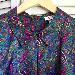 {Vintage Nicola} Silk Paisley High Neck Blouse